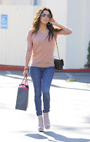 Eva Longoria denim pants and heels