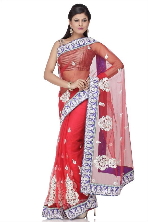 indian Red Net Saree