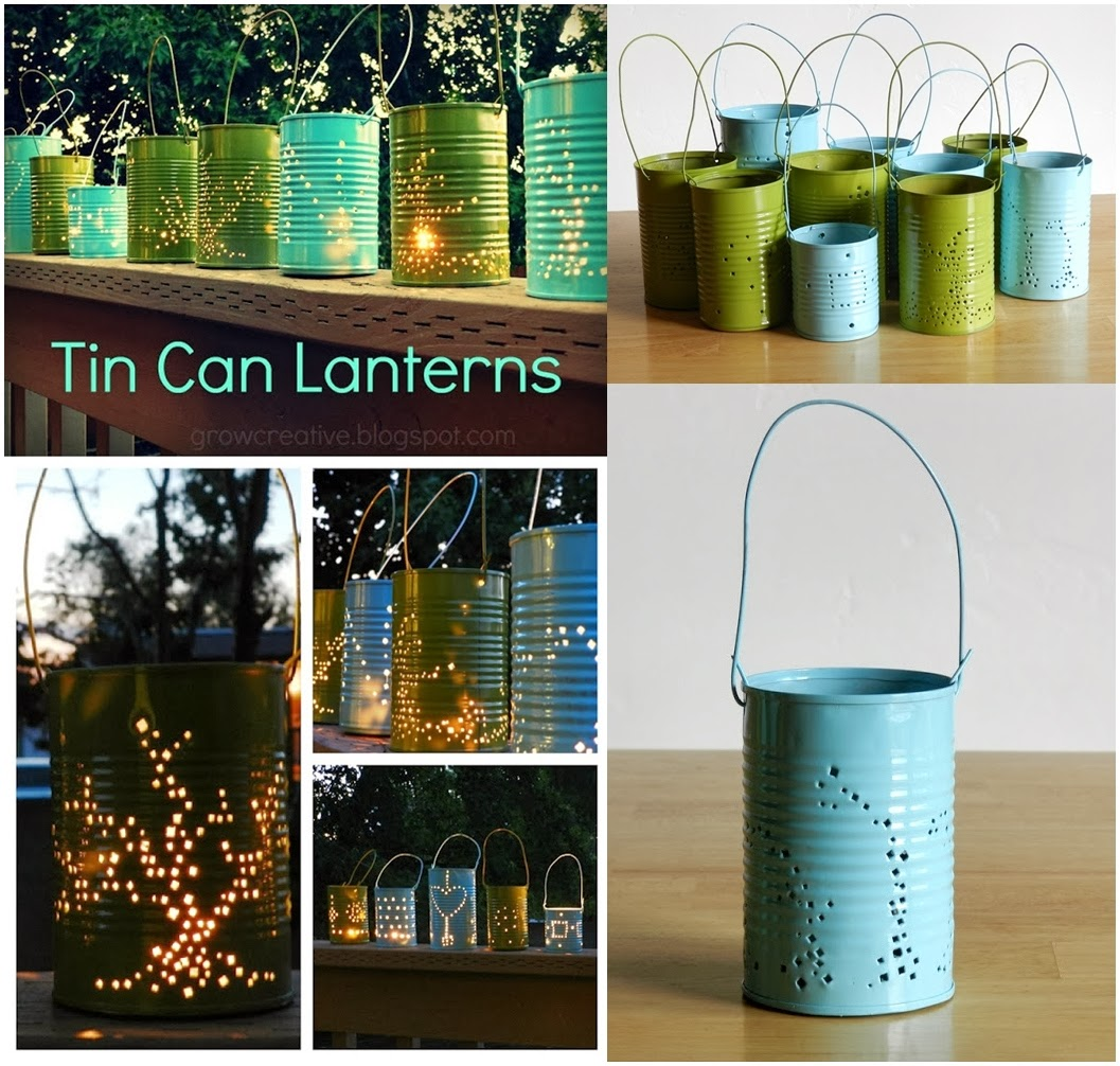 diy tin can lanterns diy craft projects