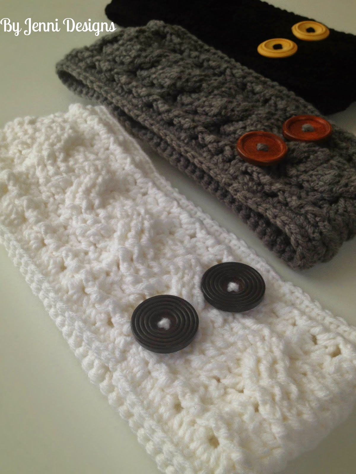 Free Crochet Pattern For A Ear Warmer : By Jenni Designs: Crochet Cable Ear Warmer Pattern
