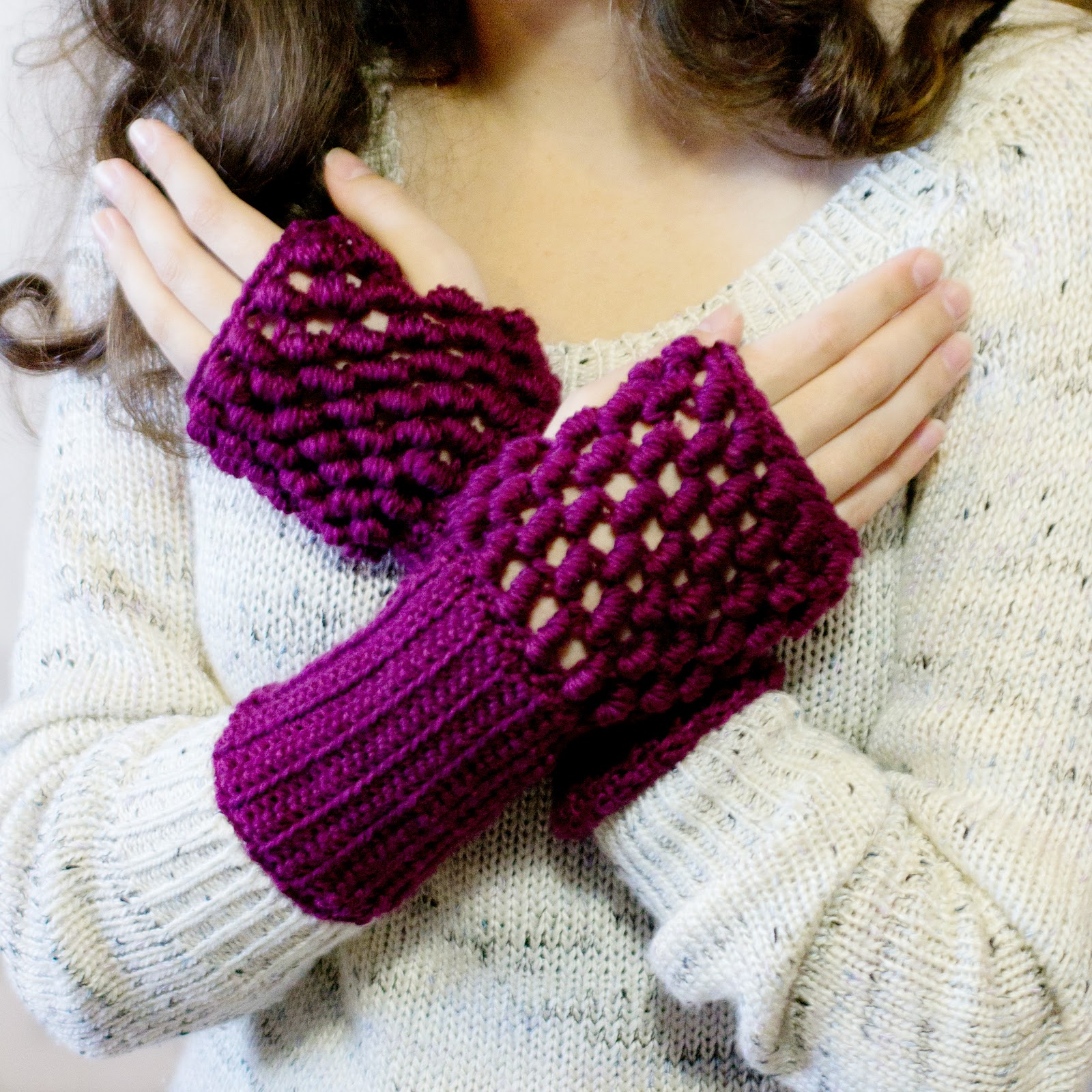 Crochet Fingerless Gloves Picture Tutorial : Hopeful Honey Craft, Crochet, Create: Safe & Sound ...