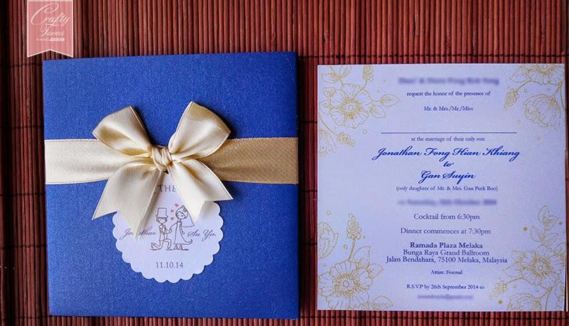 Blue and Yellow Themed Wedding Card,  Undangan Kad Kahwin Singapore