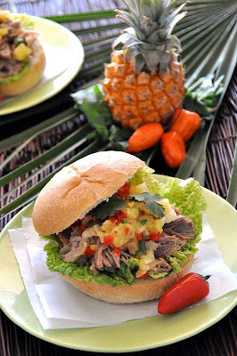 Slow Cooker Kahlua Pork Torta with Pineapple Salsa