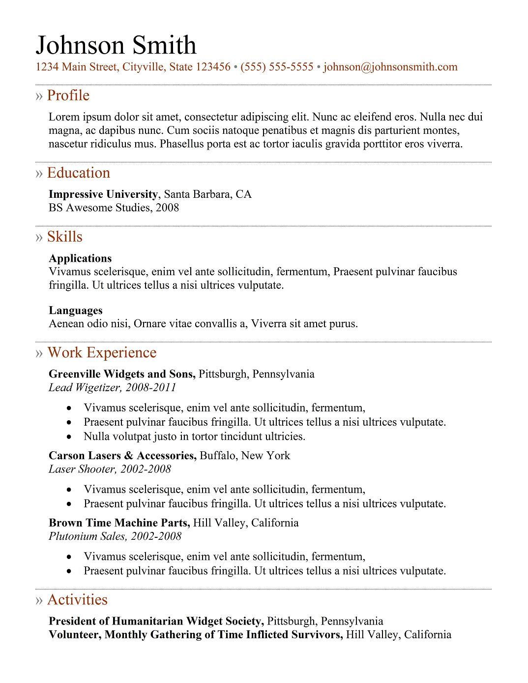 9 best resume templates for freshers best template 6 doc