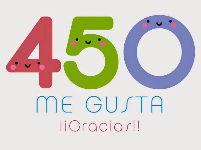 450 gracias para 450 me gusta. ¡¡Gracias a todos!!