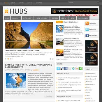 Hubs blog template. template image slider blog. magazine blogger template style. wordpress theme to blogger. template blog 3 column