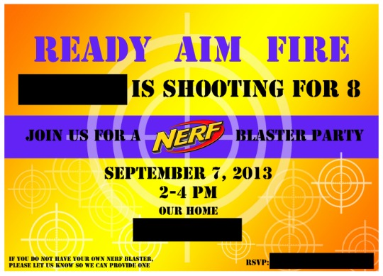 nerf birthday party-to-go - ellie petrov, Party invitations