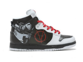 Horror Nike V for Vendetta High Men Shoes Cheap Black White Red