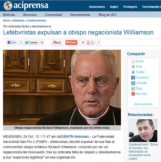 Lefebvristas expulsan a obispo negacionista Williamson