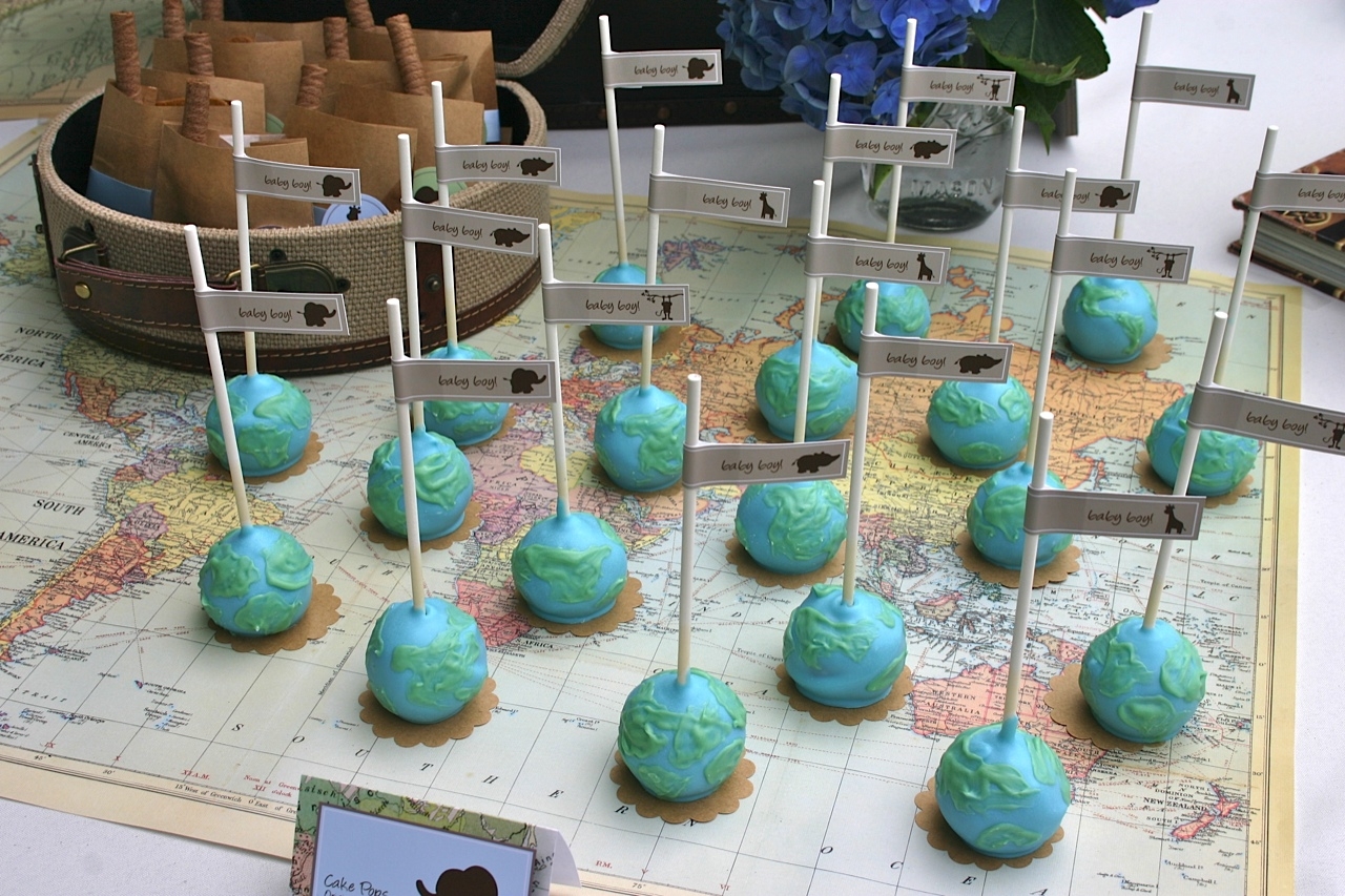 Hello World Baby Shower Theme World Map Cake Pops