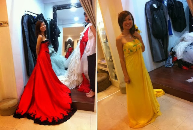 red black yellow gown