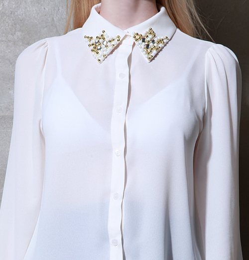 Golden Pearl Collar Blouse