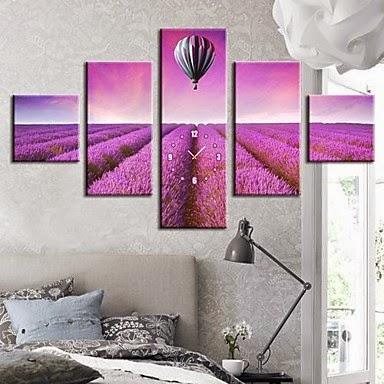 Reloj de pared lienzos Sueño Púrpura en Globo