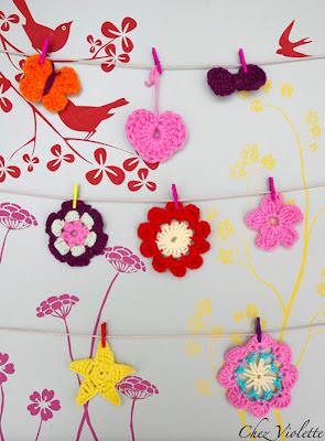 DIY crochet bow heart flower star butterfly easy chez violette