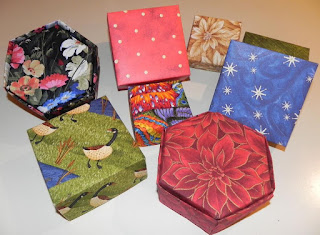 image Easy Christmas Bazaar Craft- No Sew Fabric Boxes -various sizes square and hexagonal