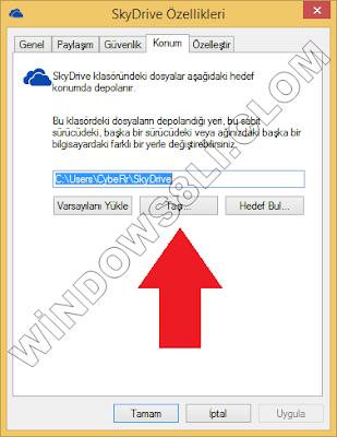 SkyDrive Klasör Konumu Değiştirme