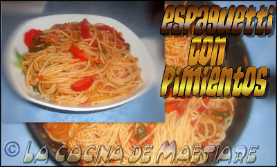 espaguetti con pimientos