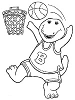 Barney Playing Basket Ball Coloring Sheet