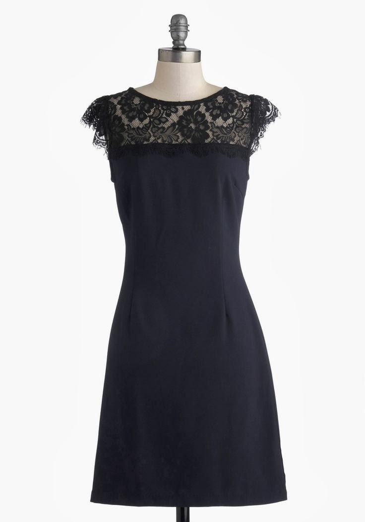 Modcloth dress, modcloth.com, Masterful Maestro Dress, navy sheath dress, black lace details, semi-formal attire