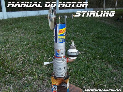 Motor Stirling Gama construído com latas de sucata, reciclável