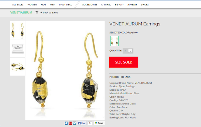 Modnique VENETIAURUM Murano glass earrings dail deal