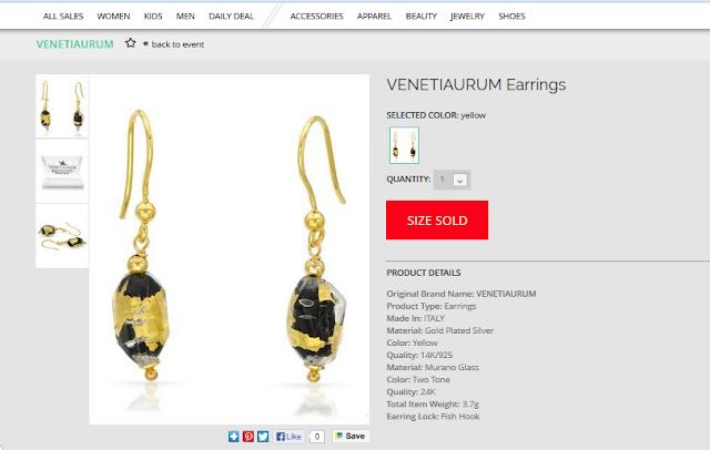 Modnique VENETIAURUM Murano glass earrings dail deal