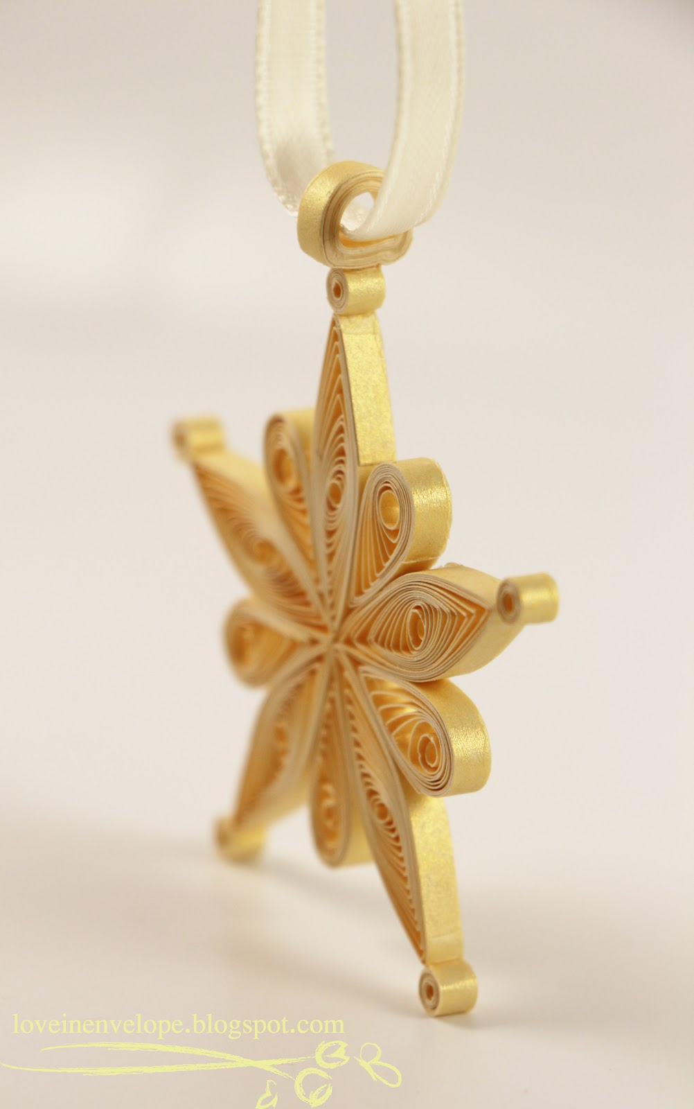 Love in envelope almost quilled gold snowflake star