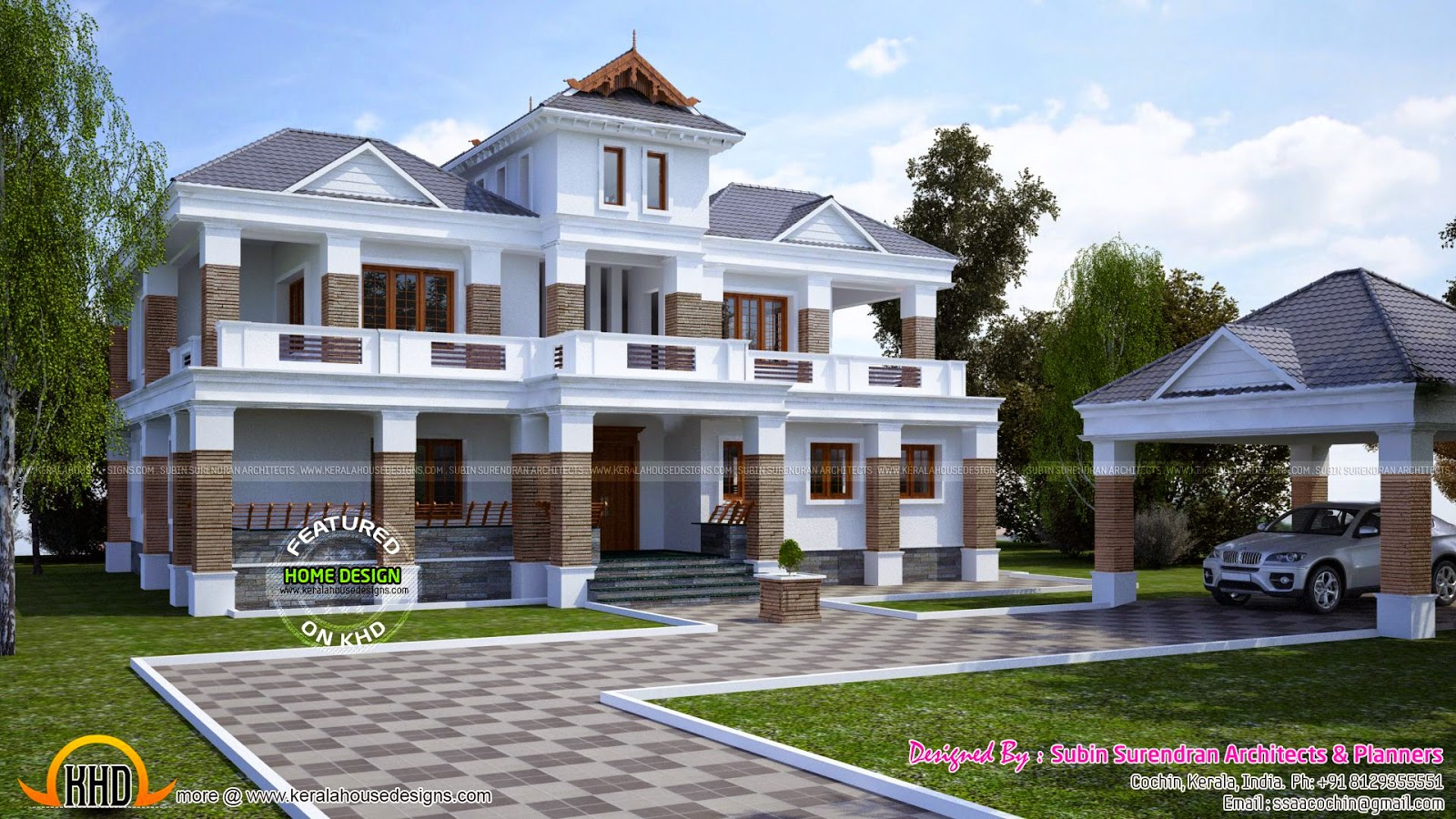 Traditional contemporary mixed home kerala home design for Conventional style home