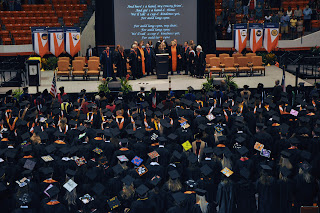Graduation ceremonies were held in the Johnson Coliseum.
