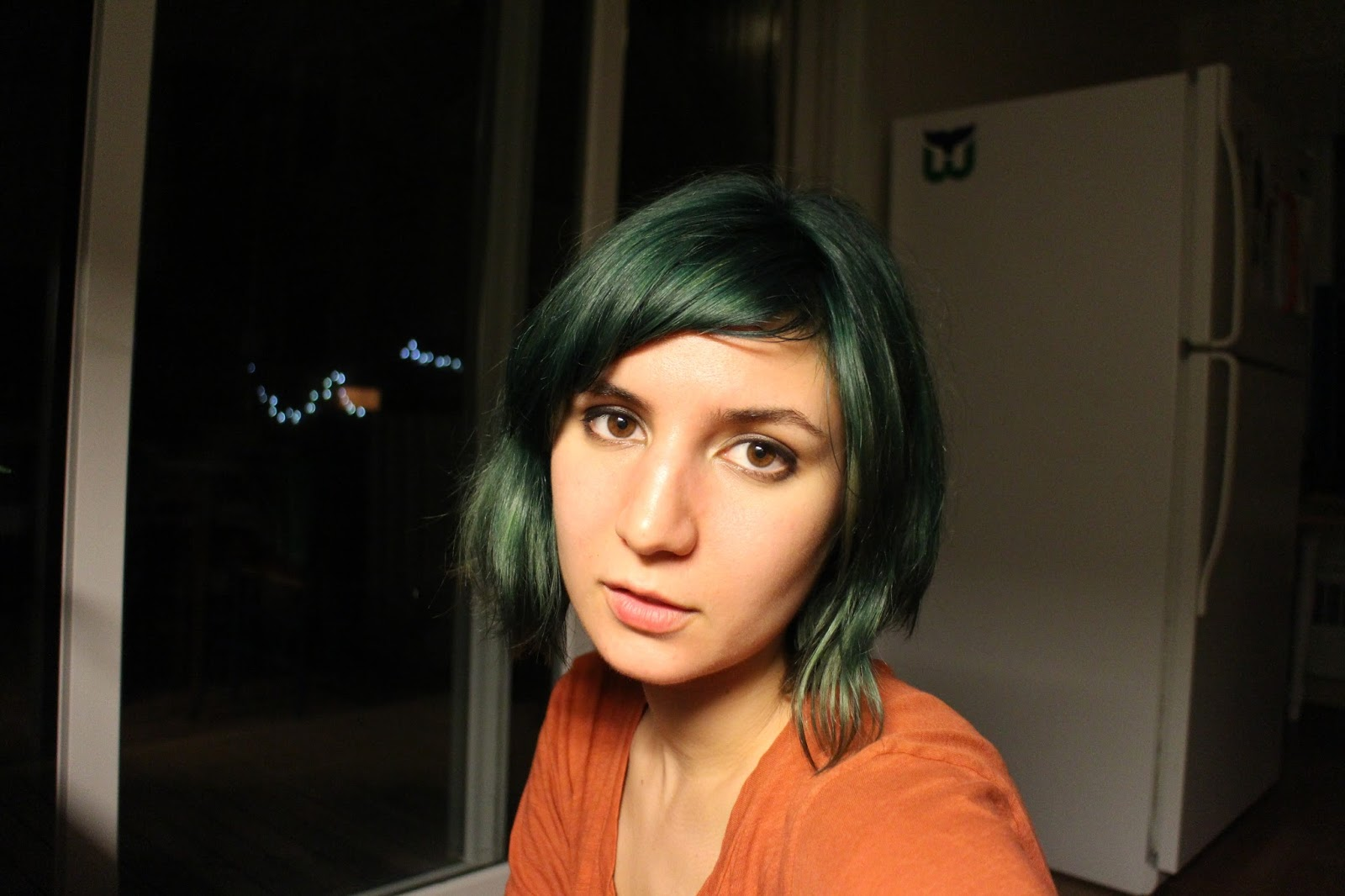 Aveda Pure tone color GREEN and BLUE, bleached and then dyed to a deep green-blue lustre. Ashy green hair, blue-green hair, silver-green hair, Aveda colored hair, jewel-tone hair, Emerald green, dusty green hair, deep green