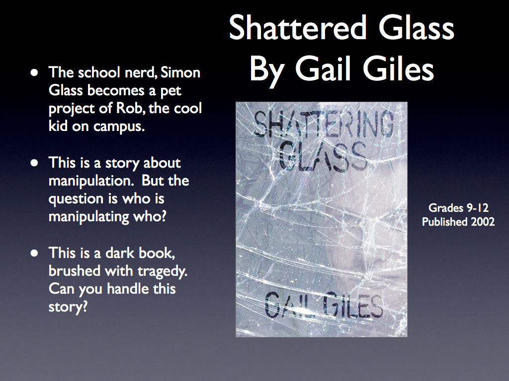 book report on shattering glass by gail giles