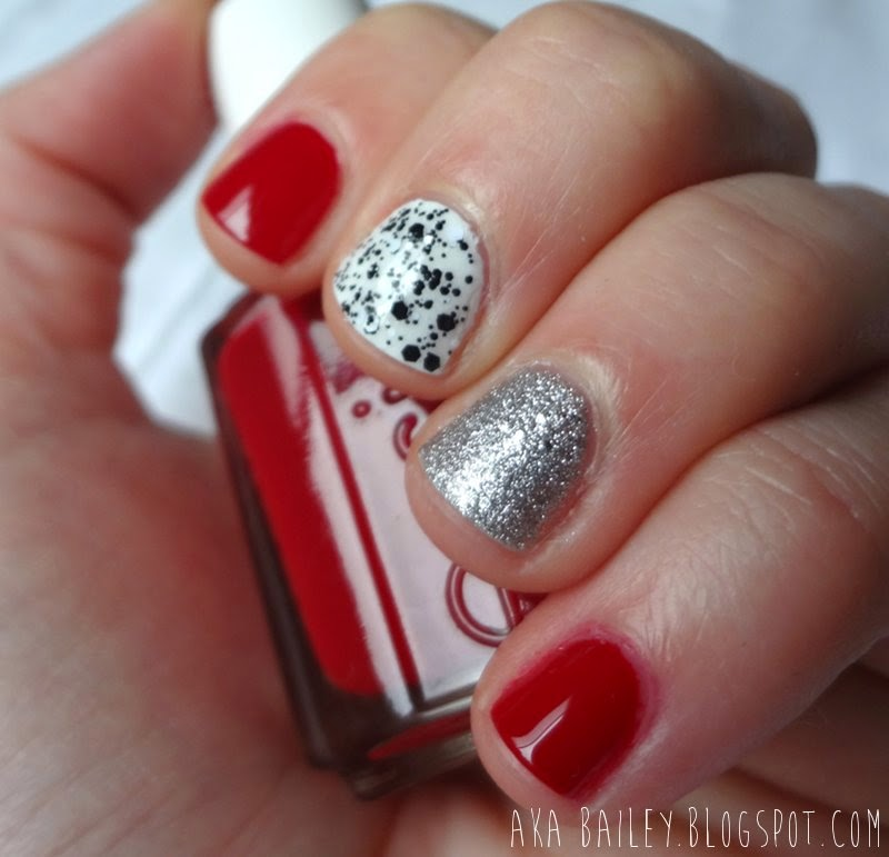 Valentine's Day Nails, red, silver, black and white
