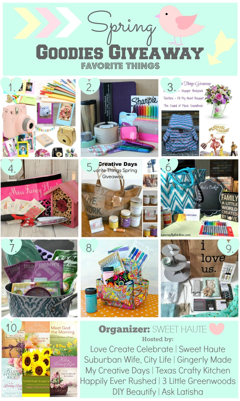 blog goodies spring giveaway favorite things contest