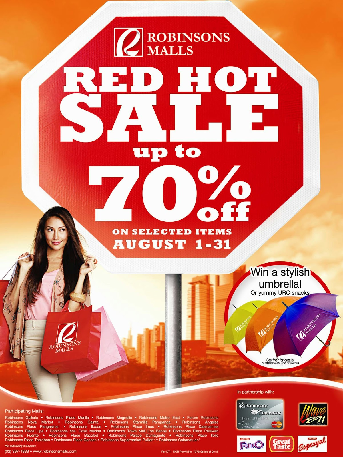 Robinsons Malls Red Hot Sale from August 1-31, 2014