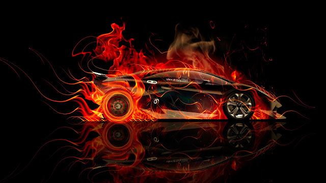 Lamborghini Sesto Elemento Fire Wallpaper
