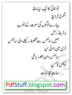Contents of the Urdu book Science Kay Azeem Mazameen