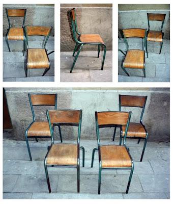 sillas de colegio francés años 1950