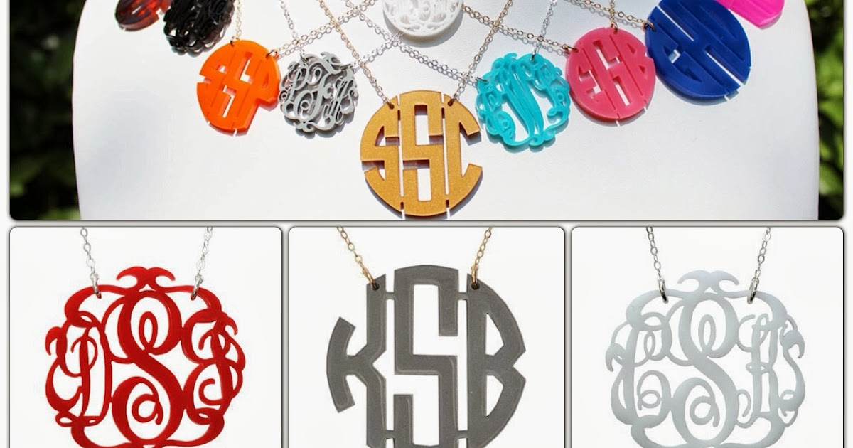 auction  moon and lola acrylic monogram necklace in block or script