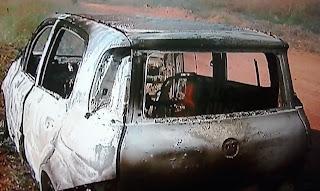 Carro envolvido em acidente na BR 251 é encontrado queimado