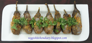 Stuffed Brinjal With Curry Powder (Gutti Vankaya - Koora Podi