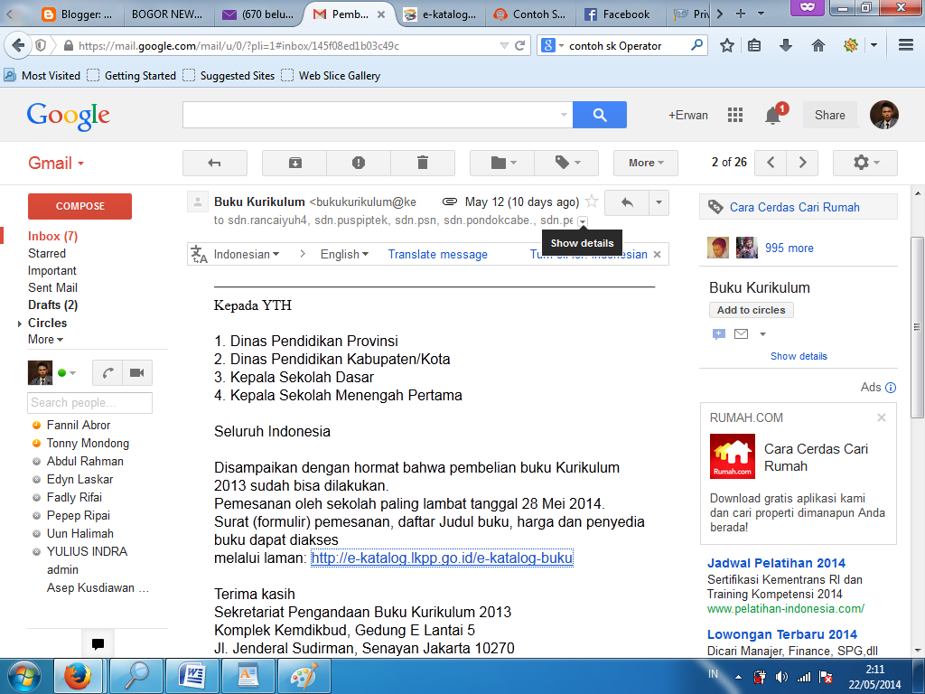 Email dari Kemdikbud tentang Pembelian Buku Kurikulum 2013