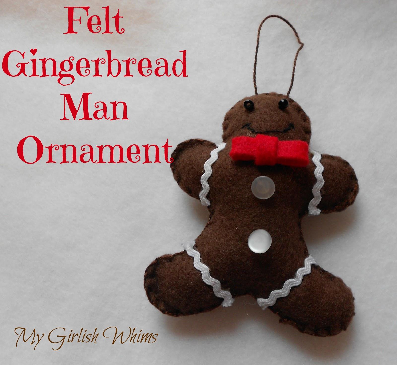 Gingerbread man ornaments - Diy Felt Gingerbread Ornament