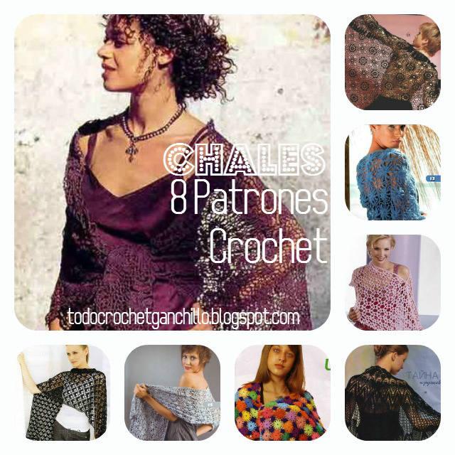 8 Patrones de Chales para tejer al crochet | Todo crochet