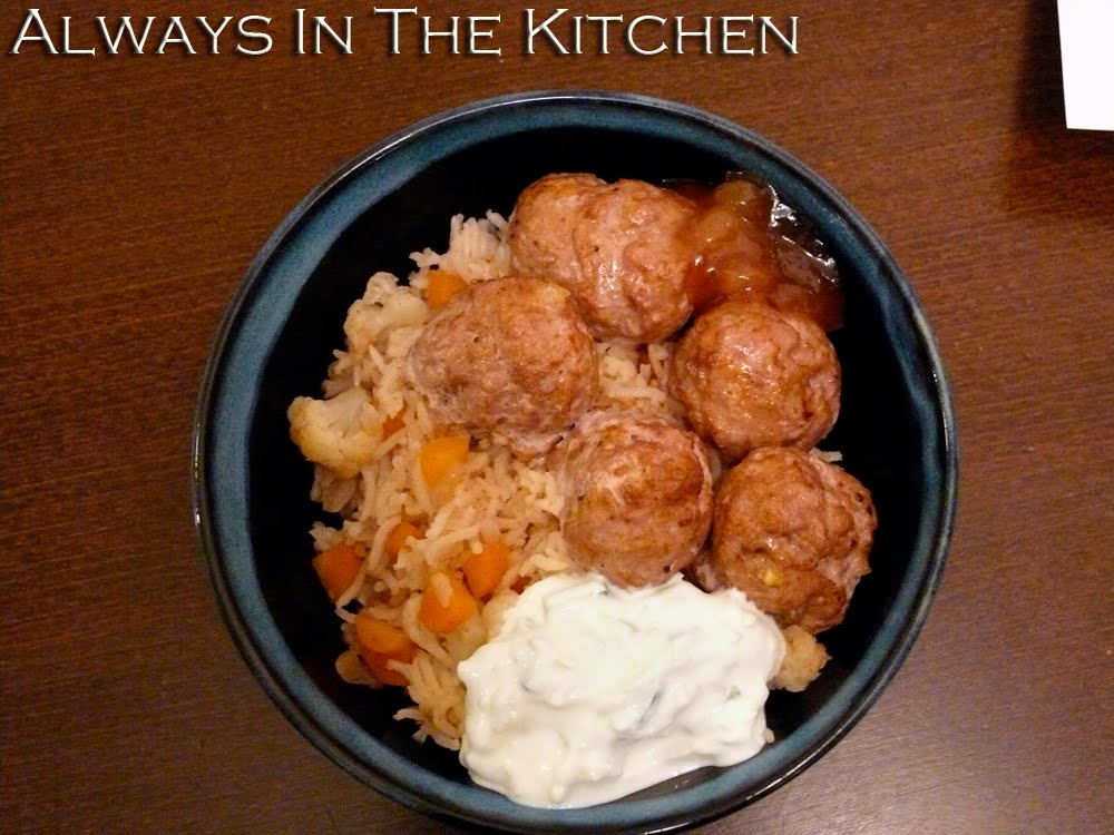 Dawna In The Kitchen Tandoori Turkey Meatball Rice Bowl