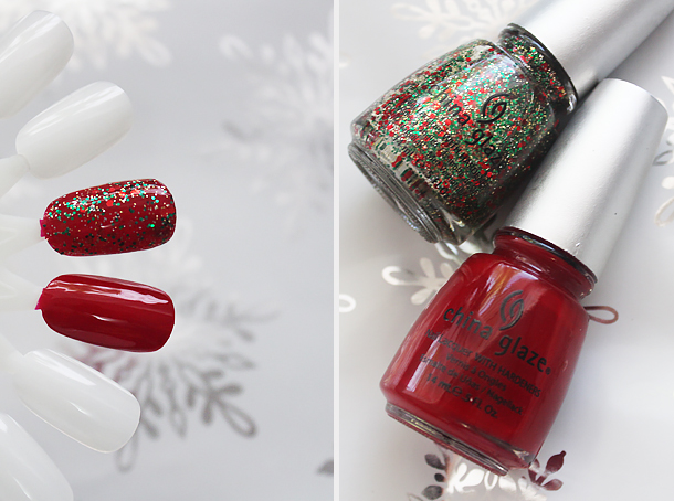holiday nail polish glitter top coats combination china glaze phat santa
