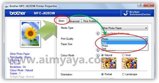 Gambar: Contoh cara mengatur properties / setting printer brother MFC J625DW agar memiliki kualitas cetak yang lebih baik