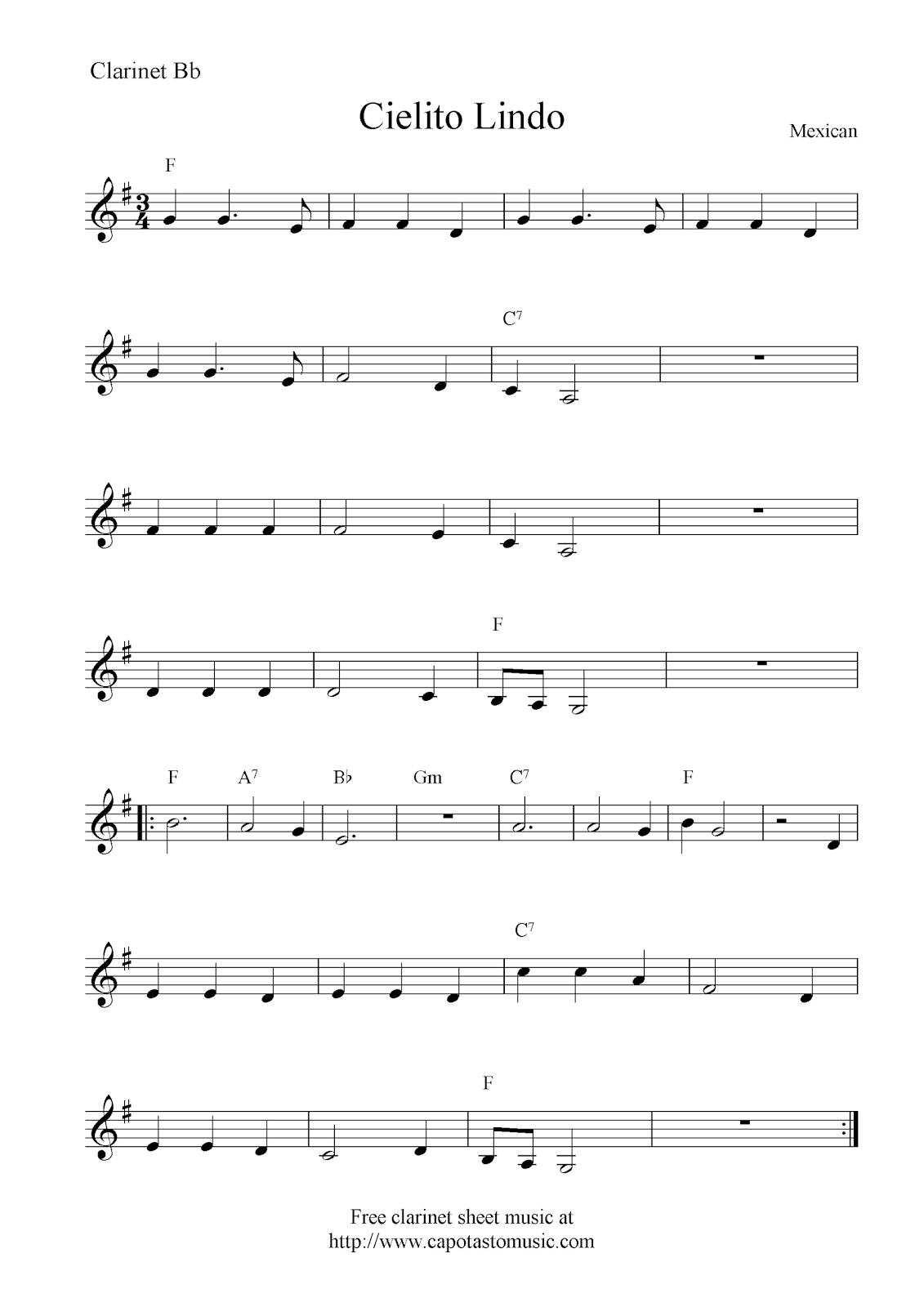 Cielito lindo free clarinet sheet music notes