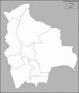 Mapa blanco y negro de Bolivia