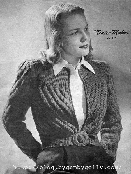 1940 Knitting Patterns Free : The Vintage Pattern Files: 1940s Knitting - The Date Maker Cardigan