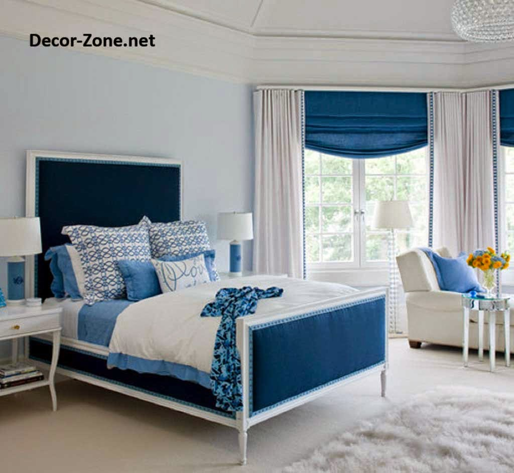 bedroom curtain ideas and designs - Blue And White Bedroom Designs